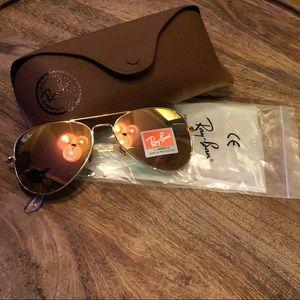 Ray-Ban Aviators Peach Flash Lens  NEW w/Case 58mm